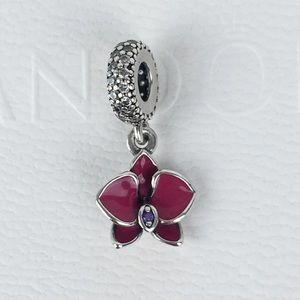 EUC Pandora Pink & Purple Orchid Dangle Charm
